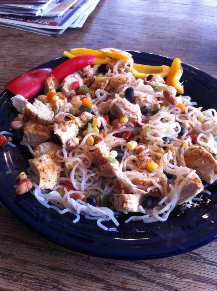 Skinny Mexican pasta!  Shirataki noodles, 1 wedge laughing cow queso fresco cheese, grilled chicken, low sodium Mexican seasoning (McCormick of course), Store bought drained cowboy/Texas caviar and a couple peppers to crunch on.
