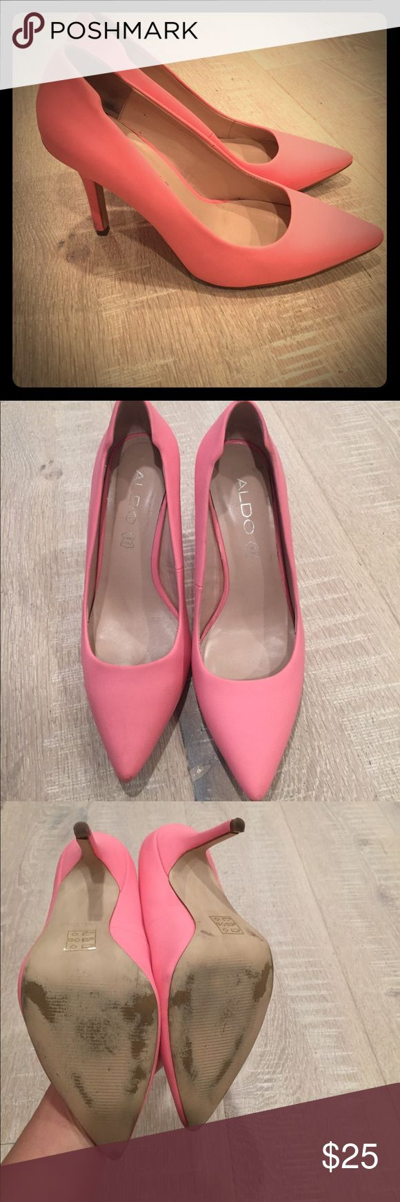 Pink matte Aldo heels Super cute pink matte Aldo heels! Only worn a few times, I have arthritis in my foot so I have to sell all my heels 😫 there is some scuffing as noted in pictures, but they're still in really great shape! Aldo Shoes Heels