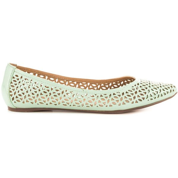 JustFab Women's Shanny - Mint ($55) ❤ liked on Polyvore featuring shoes, flats, green, skimmer flats, perforated flats, green flats, mint green ballet flats i mint shoes