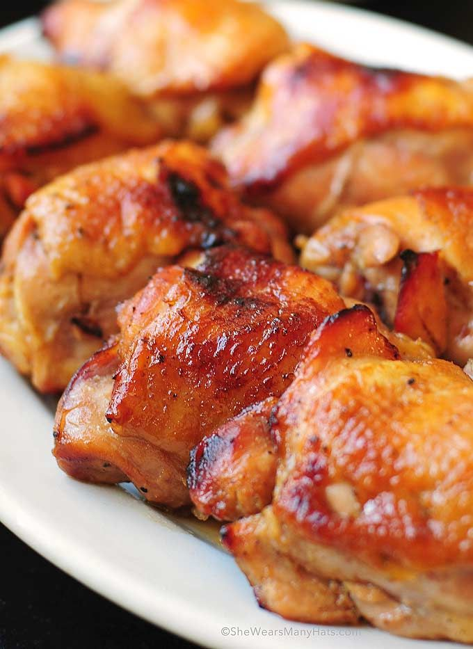Honey Soy Baked Chicken Thighs Recipe. - I would just remove the skin to make the recipe liter. Looks easy and yummy!