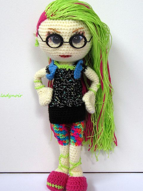Venus Mc Flytrap crocheted doll by ladynoir63, via Flickr