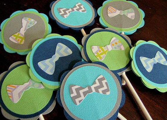 Bow Tie Party Cupcake Toppers Bow Tie Baby by ScrapYourStory