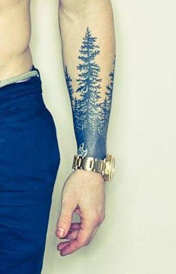 Sombras Espectaculares En Tatuajes De Pinos En El Brazo Tatto
