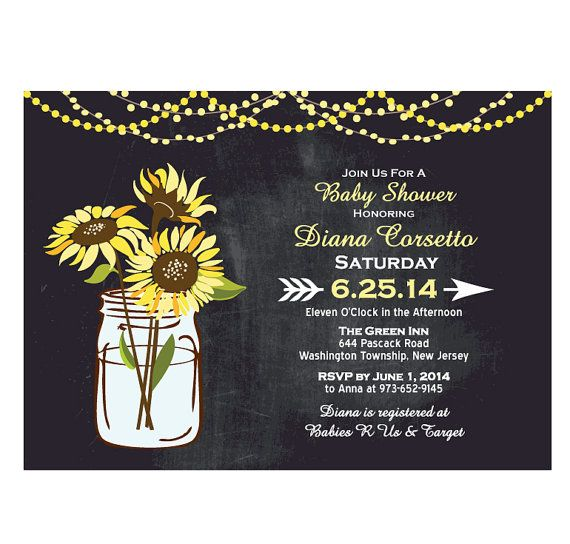 Chalkboard Sunflower Baby Shower by TreasuredMomentsCard on Etsy
