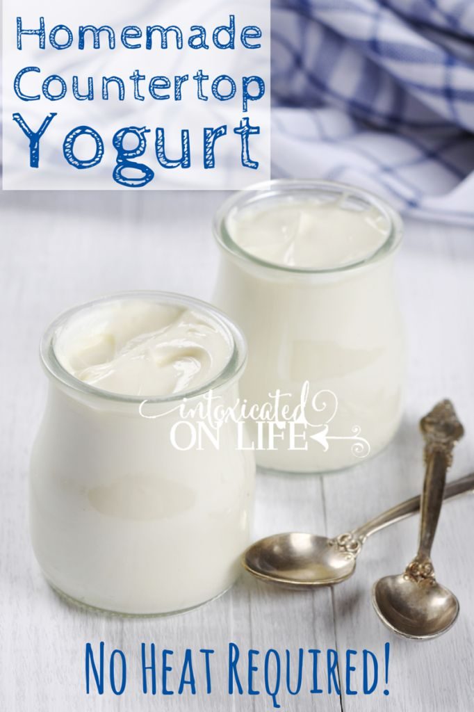 Learn how to make homemade yogurt right on your countertop. No heat required! @ IntoxicatedOnLife.com #HealthyLiving #EasyHealthy