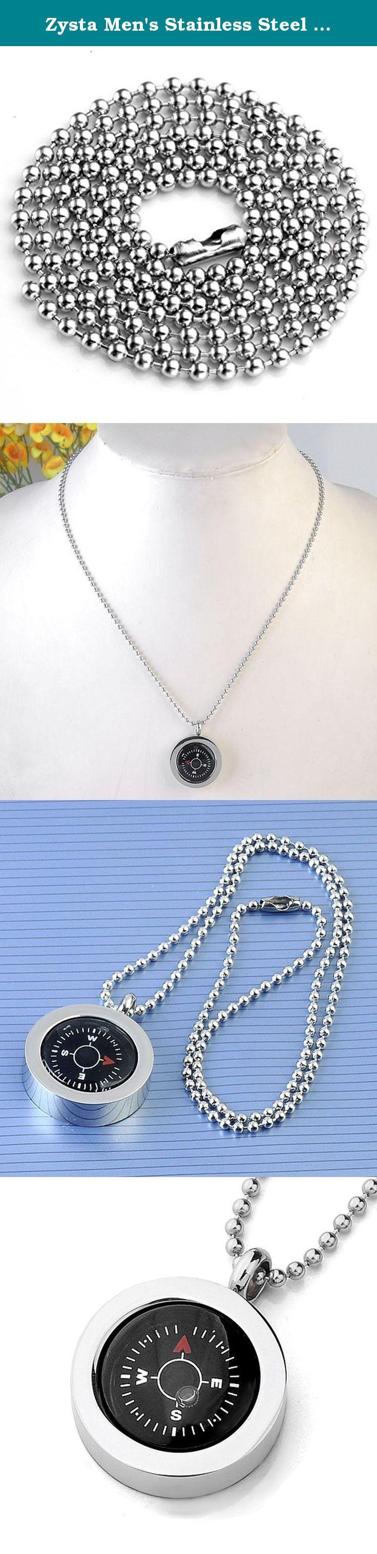 Zysta Men's Stainless Steel Pendant Necklace - With 20 Inches Chain (Compass). Stainless Steel Pendant and Stainless Steel Bead Chain. Zysta Men's Stainless Steel Pendant Necklace - With 20 Inches Chain (Compass). Pendant Size:27*34*9MM. Chain Length: 19 Inches.