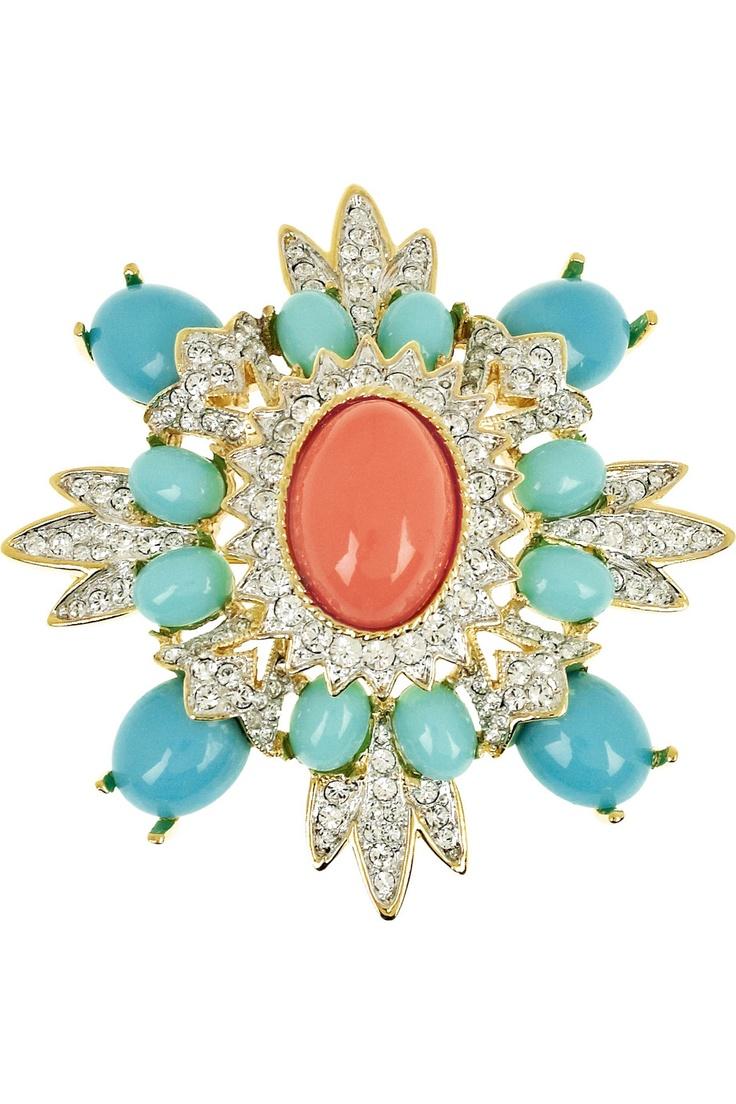 Kenneth Jay Lane Multi Color Crystal Flower Pin Multi ohhVh1bf