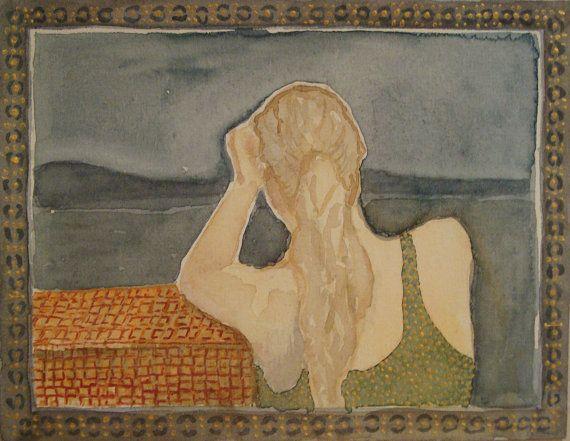 Original, one of a kind watercolour painting, girl, portait, sea, nostalgic.