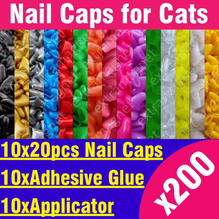 200pcs - Soft Nail Caps for Cats + 10x Adhesive Glue + 10x Applicator /* XS, S, M, L, paw, claw, cover, lot, cat */
