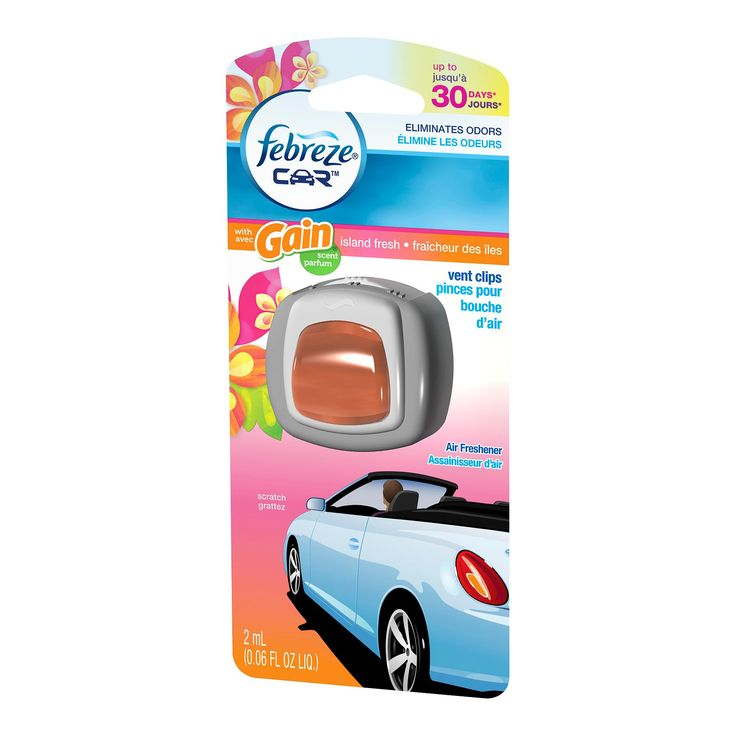 Febreze Car Gain Island Fresh Scent Air Freshener Vent Clip,