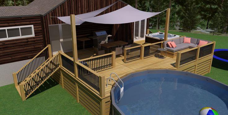 Patio avec piscine hors terre en cèdre par Q-bik