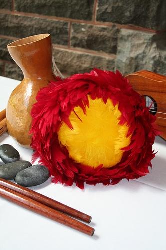 Hula Implements (Ipu, 'Ili'ili (Hawaiian castanets), Ukulele, 'Ulī'ulī, Kālā'au (dancing sticks), (Pū'ili (split bamboo sticks)