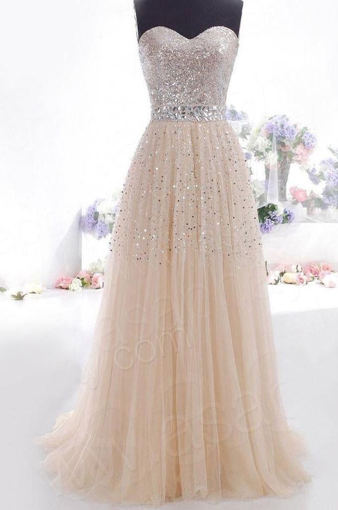 2014 cheap plus size modest Champagne Prom Dresses Long Evening Part  dress W6