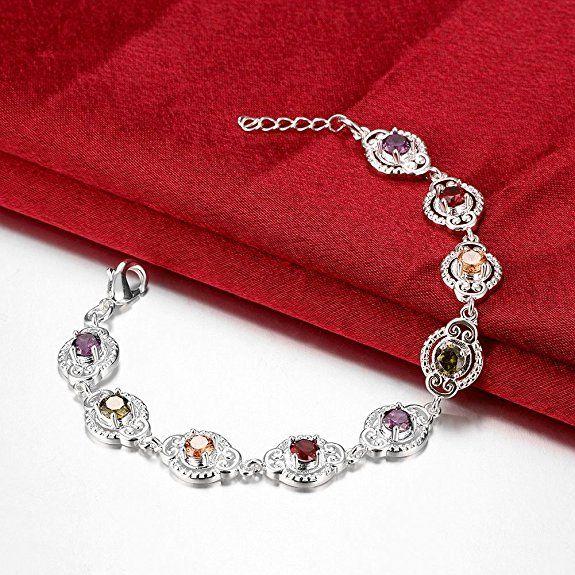 #Bracciale #gioielli donna, placcato in #argento lucido e #zircone con pietre sintetiche