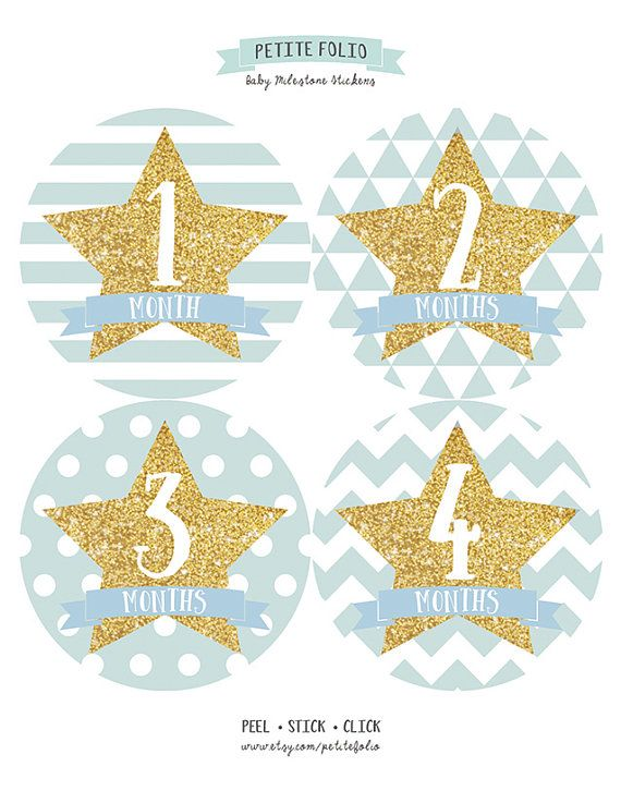 Star Gold Glitter Monthly Baby Sticker Baby Boy Stickers