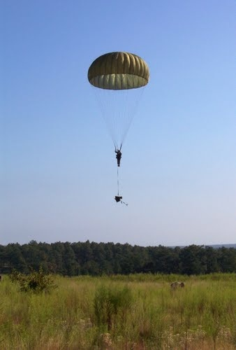 parachute jump at Ft Bragg NC just think 5 jumps and we get our wings