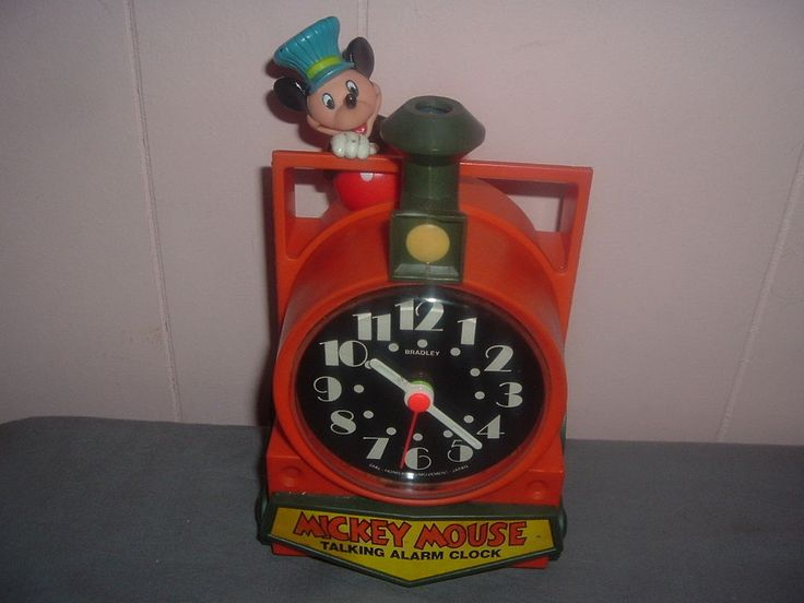 Collectible Disney Mickey Mouse Train Conductor Talking Alarm Clock,Tics/Talks.