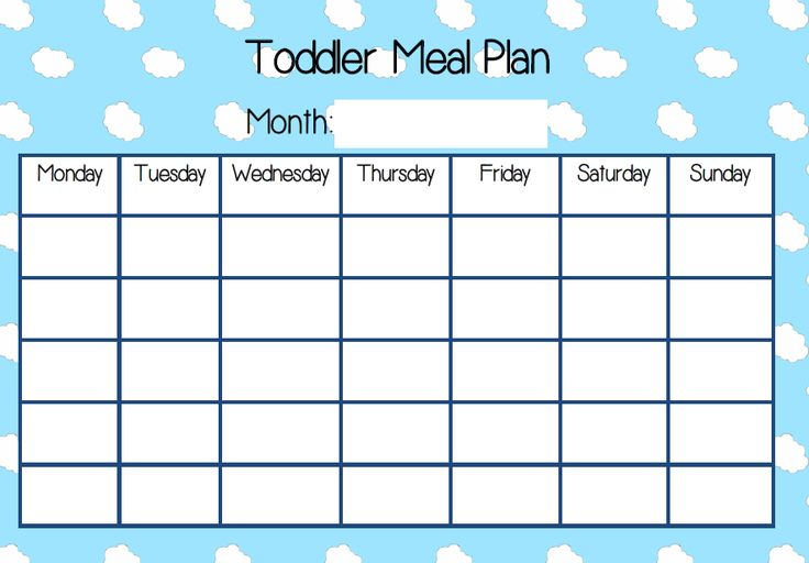 Toddler Meal Plan chart download