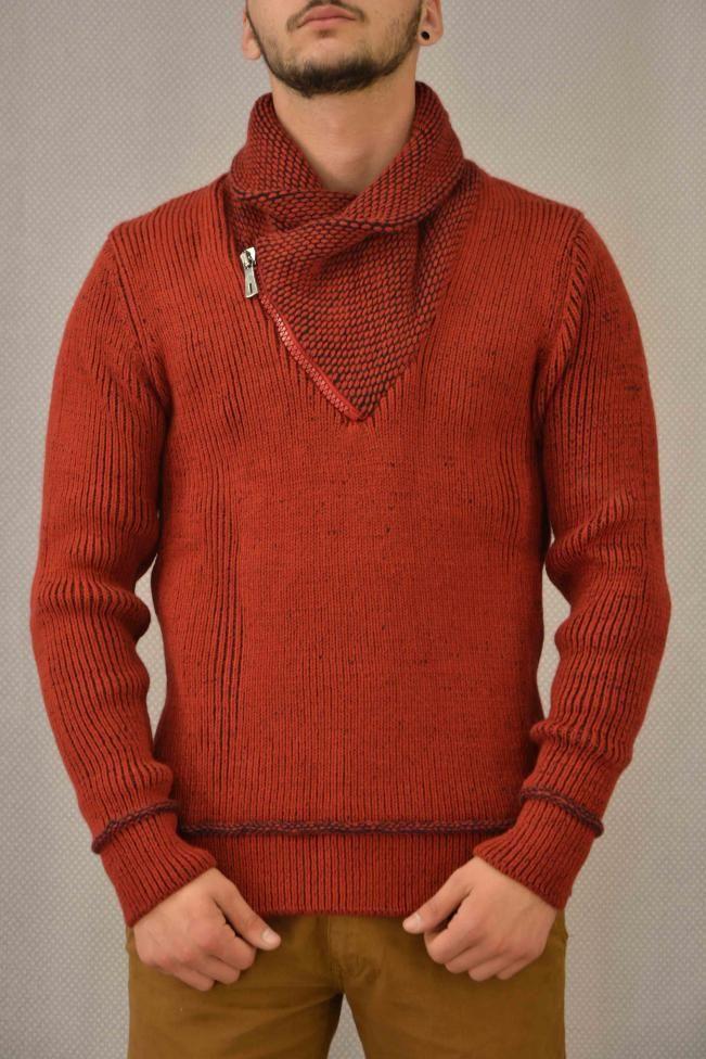Ανδρικό πουλόβερ με φερμουάρ  PLEK-2696 Πλεκτά - Πλεκτά και ζακέτες