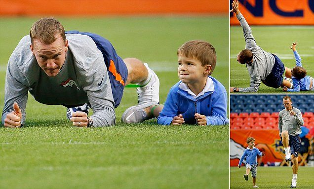 Peyton Manning's son Marshall overshadows him during pregame warmups #DailyMail | These are just some of the stories. Come see the rest @ http://twodaysnewstand.weebly.com/mail-onlinecom