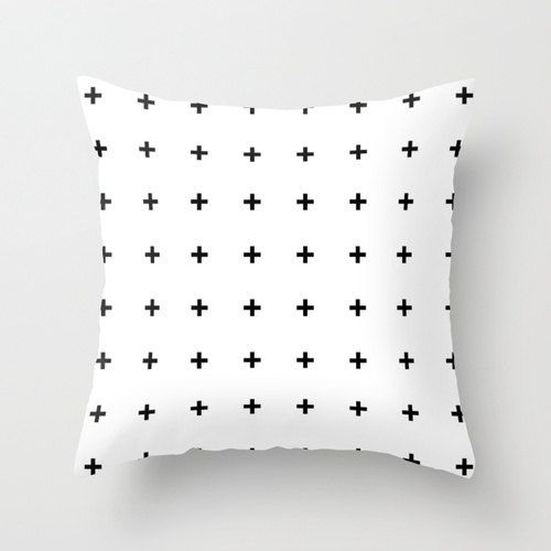Hey, I found this really awesome Etsy listing at http://www.etsy.com/listing/113670696/black-cross-plus-on-white-throw-pillow