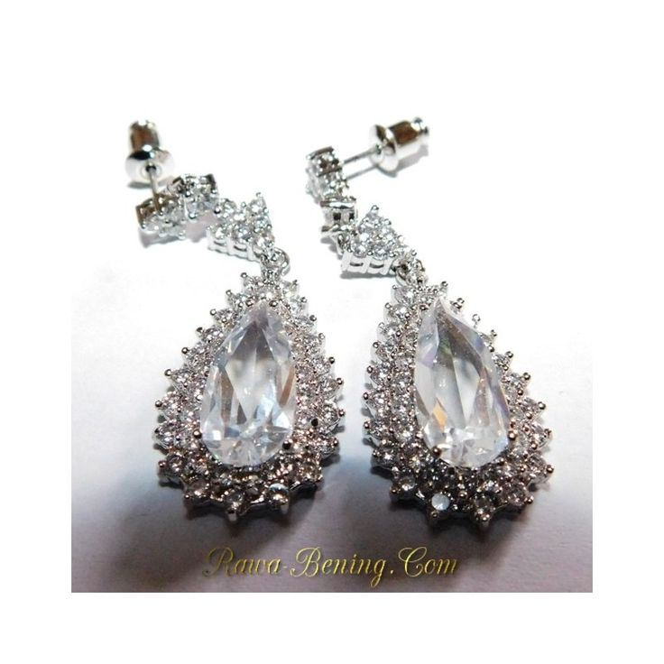 Anting White Gold Filled 18K Model Pear Shape White CZ
