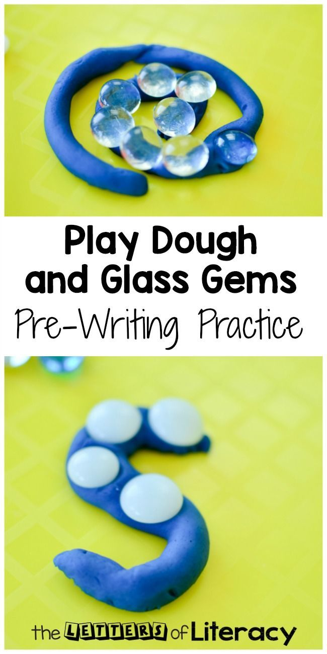 Practice fine motor skills and pre-writing with this play dough and glass gems activity for preschool and kindergarten