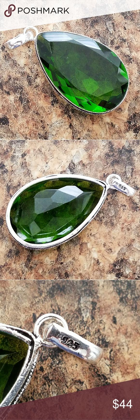 """RADIANT GREEN QUARTZ PENDANT Gorgeous Green 2"""" Teardrop Quartz Pendant in Sterling Silver """"Stamped 925"""" Jewelry Necklaces"""