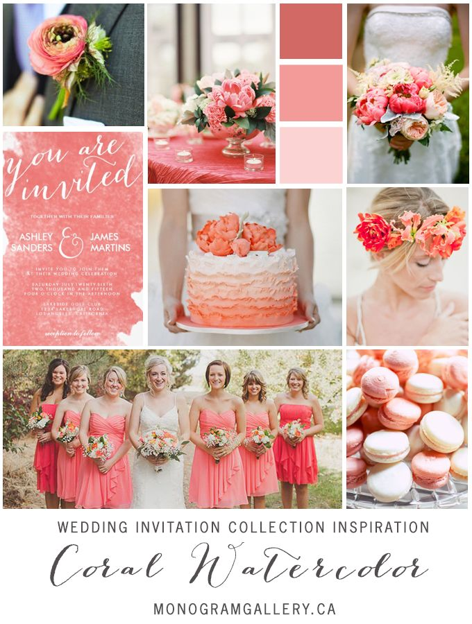Coral Pink Watercolor Wedding Invitation Inspiration by the Monogram Gallery © Elke Clarke 2014. Pin to your #spring #wedding inspiration boards! Customize and purchase the invitations at www.monogramgallery.ca/coral-pink-watercolor/