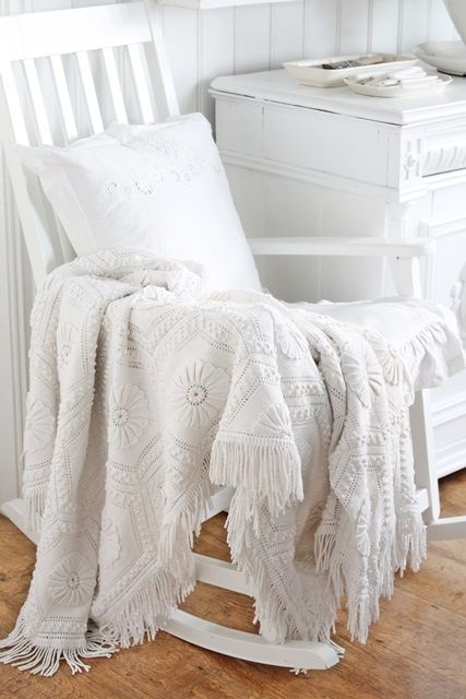 VIBEKE DESIGN ~ Love the white throw over the rocking chair ~❥