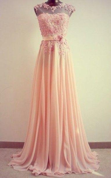 dress elegent evening wear prom blush pink