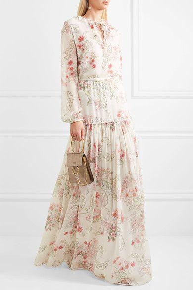 Giambattista Valli | Ruffled floral-print silk-chiffon blouse | NET-A-PORTER.COM