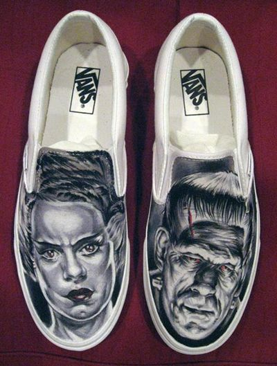 Frankenstein and his Bride custom painted Vans shoes MUST HAVE THIS DONE!!!!!!!!! NEXT PAIR!! <3
