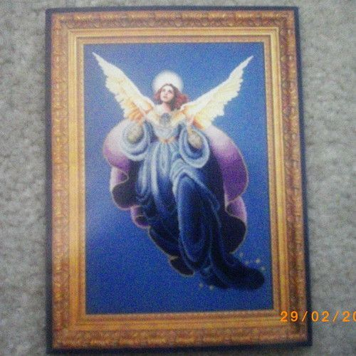 Angel of the Morning cross stitch chart with linen fabric