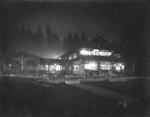 [Stanley Park Pavilion at night] - City of Vancouver Archives