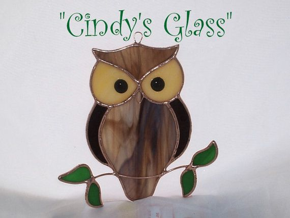 Stained Glass Suncatcher Ornament Owl by CindysGlass on Etsy, $12.95