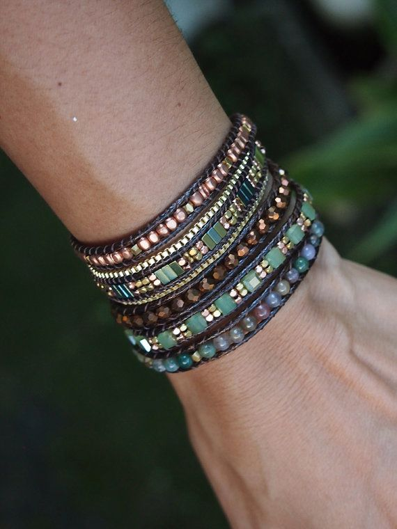 5 times Wrap Bracelet Jade beaded mix Boho bracelet by G2Fdesign