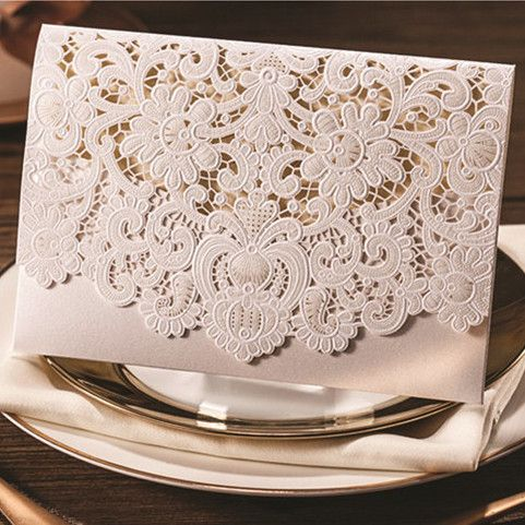 graceful pearl white laser cut pocket envelope wedding invitation EWWS011 as low as $2.09 |