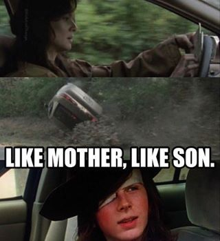 I have only one freaking eye, you bunch of insensitive dicks! #thewalkingdead #carlgrimes