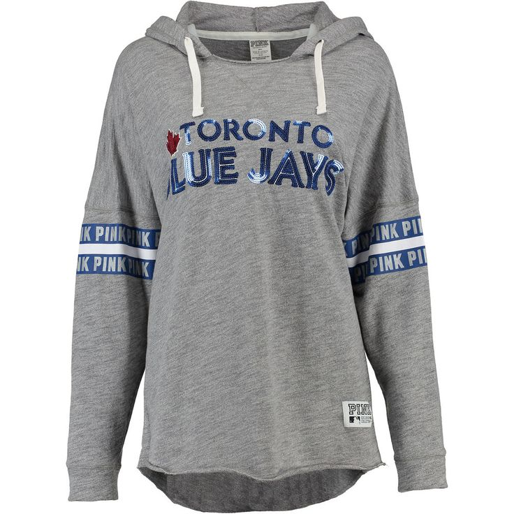 Women's Toronto Blue Jays PINK by Victoria's Secret Gray Bling Varsity Pullover Hoodie