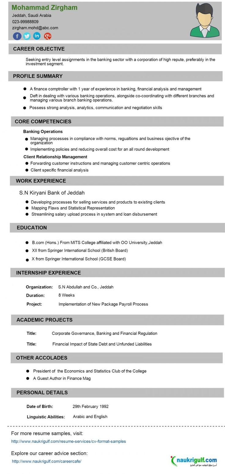 CV Format Banking Finance Resume Sample Naukriuglf Com For