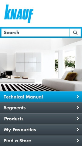 Knauf iPhone App for Plasterboard and other products. System selector provides relevant information for contractors, homebuilders and architects.