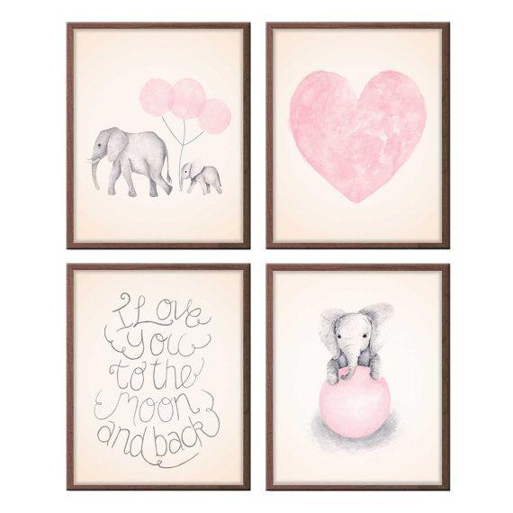 Baby Mädchen Kinderzimmer Kunst Rosa und grauen Kinderzimmer Kunst, Elefant Kinderzimmer Aquarell Herz, Elefanten Bilder, Satz von vier Drucke