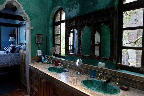 teal walls bathroom interior design
