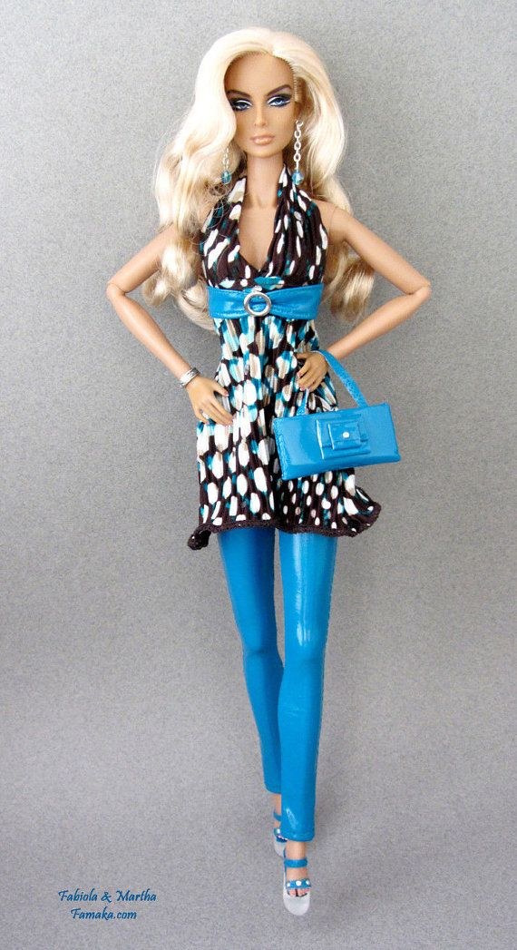 Polka Dot Teal Vinyl Outfit w Clear Heels for Fashion Royalty, Silkstone Barbie