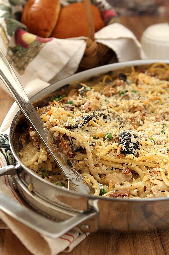 The Best Turkey Tetrazzini has Mushrooms, Bacon, Garlic and Herbs