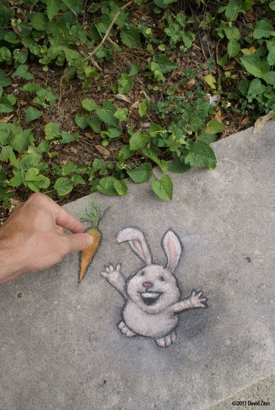 I brought breakfast. Chalk art by David Zinn