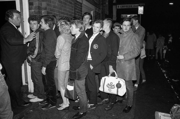 Love this! Line for the Wigan Casino! - It was Never as orderly as this - this is where we learnt to scrum like rugby players!!