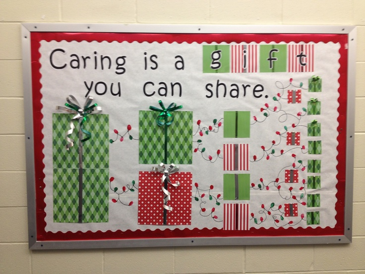 Caring bulletin board...this is perfect for dec...we're focusing on this trait!