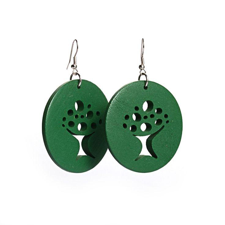 Green Tree of Life cut out design wooden hoop drop earrings